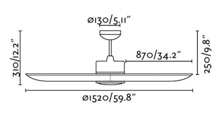 ventilador de techo Tonic faro - medidas