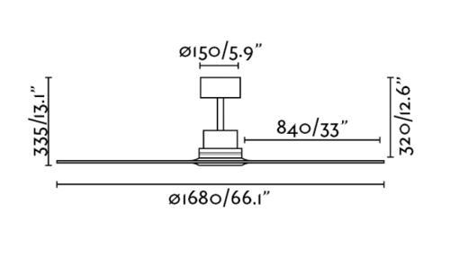 ventilador de techo Lantau-g - medidas