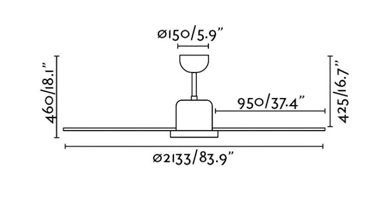ventilador de techo andros Faro - medidas