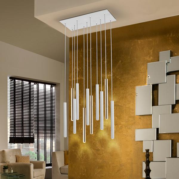 Lampara Varas Schuller -  Blanco y oro 11 luces LED