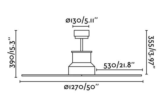 ventilador motor dc winche faro - medidas