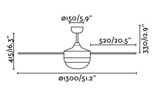 medidas de ventilador Icaria Faro